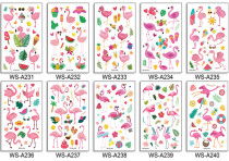 10 pcs Kids Cartoon Temporary Tattoo Sticker Waterproof Flamingo WSA231-240