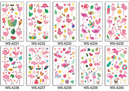 10 pcs Kids Cartoon Temporary Tattoo Sticker Waterproof Flamingo WSA231-240