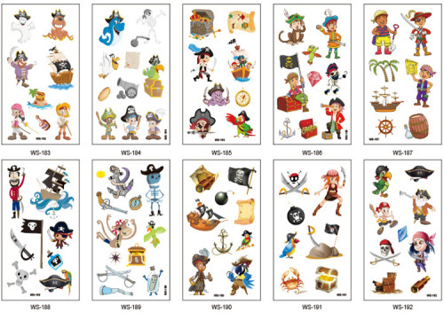 10 pcs Kids Temporary Tattoo Sticker Waterproof Pirates WS183-192
