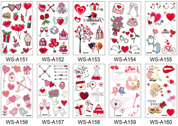 10 pcs Valentine's Day Temporary Tattoo Sticker Waterproof WSA151-160