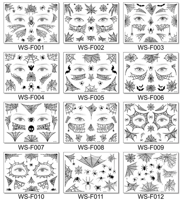 12 pcs Spider Face Temporary Tattoo Sticker Waterproof WSF001-012