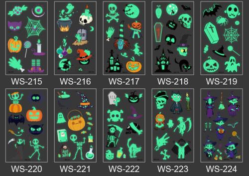 10 pcs Kids Luminous Halloween Temporary Tattoo Sticker Waterproof WS215-224