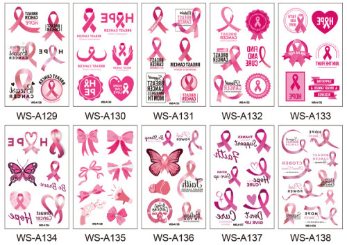10 pcs Silk Ribbon Pink Temporary Tattoo Sticker Waterproof WSA129-138