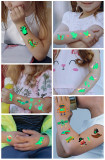 12 pcs Kids Luminous Cartoon Temporary Tattoo Sticker Waterproof WSY021-032