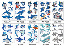 10 pcs Kids Cartoon Temporary Tattoo Sticker Waterproof Shark WSA001-010
