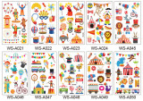 10 pcs Kids Cartoon Temporary Tattoo Sticker Waterproof Circus WSA021-050