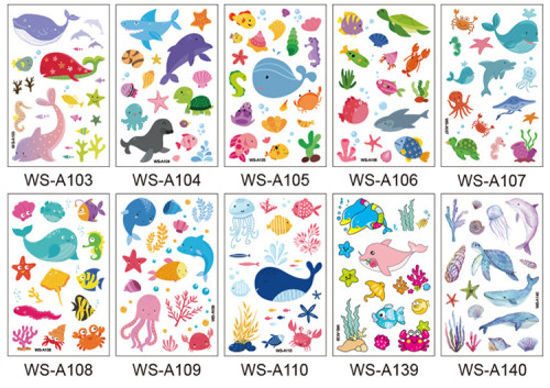 10 pcs Kids Cartoon Temporary Tattoo Sticker Waterproof Ocean WSA103-140