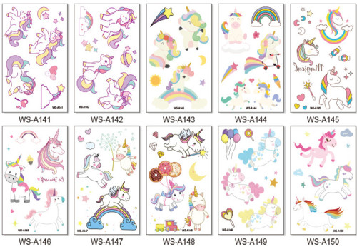 10 pcs Kids Cartoon Temporary Tattoo Sticker Waterproof Unicorn WSA141-150