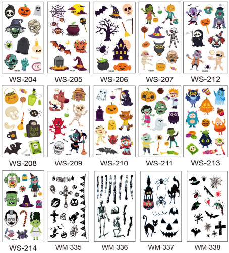 30 pcs Kids Halloween Temporary Tattoo Sticker Waterproof WS204-214/WM335-353