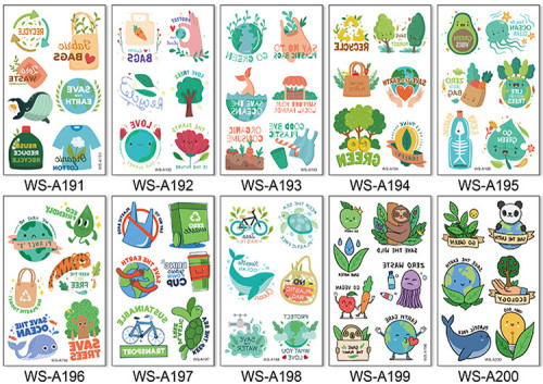 10 pcs Temporary Tattoo Sticker Waterproof Environmental Protection Cartoon WSA191-200