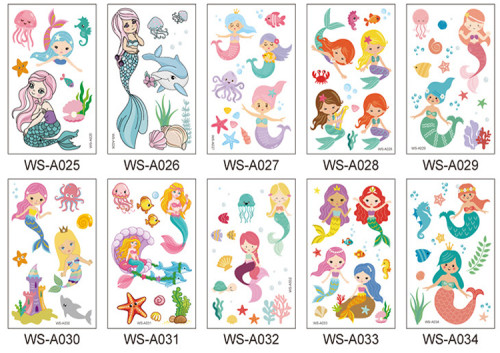 10 pcs Kids Cartoon Temporary Tattoo Sticker Waterproof Mermaid WSA025-034