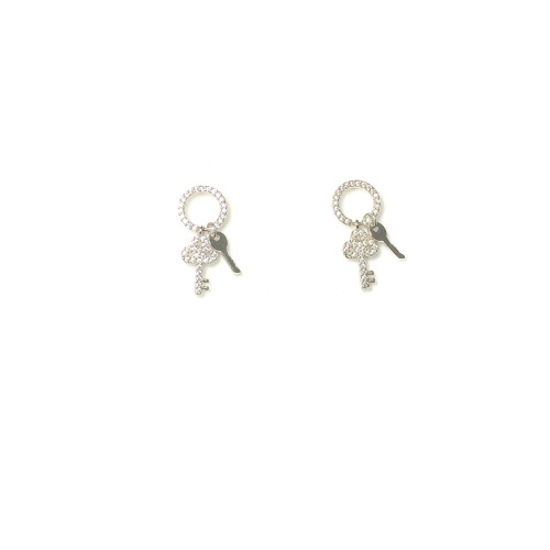 Microscope Zircon Key Stud Earrings 2006019