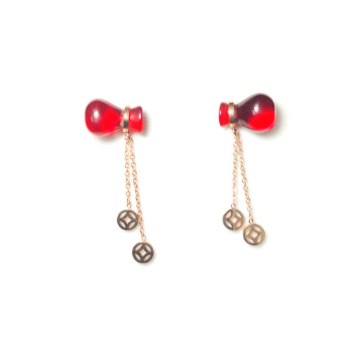 Red Titanium Steel Wallet Dangle Earrings 2006017