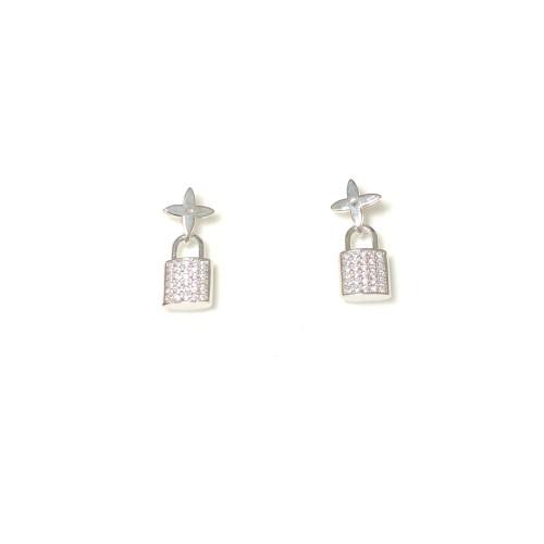 Microscope Zircon Lock Stud Earrings 2006021