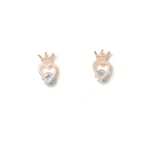 Rose Red Microscope Zircon Crown Stud Earrings 2006012