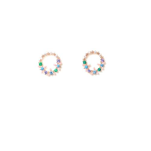 Color Zircon Garland Stud Earrings 2006014