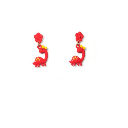 Red Silica Gel Dino Drop Earrings 2006015