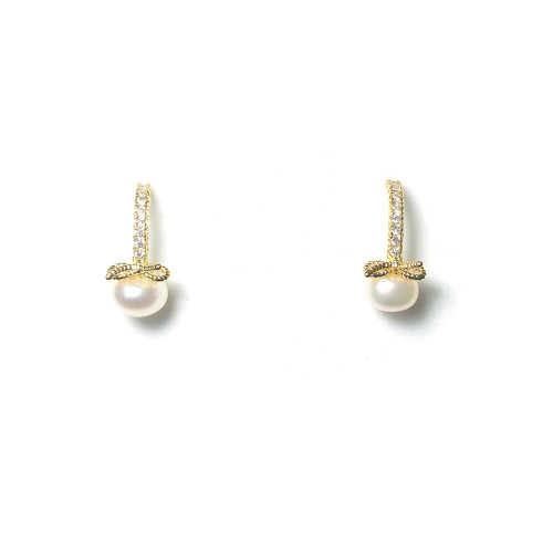 Bowknot of White Freshwater Pearl Microscope Zircon Stud Earrings 2006037