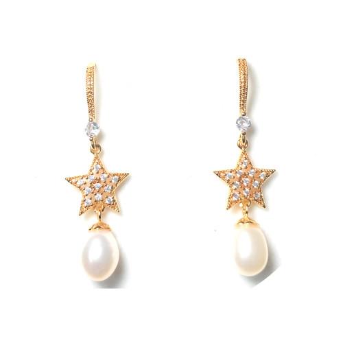 Star of White Freshwater Pearl Microscope Zircon Drop Earrings 2006051