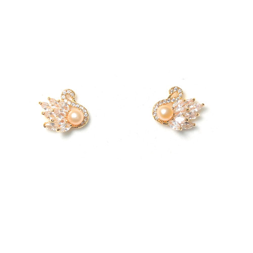 Angel of Pink Freshwater Pearl Zircon Stud Earrings 2006045