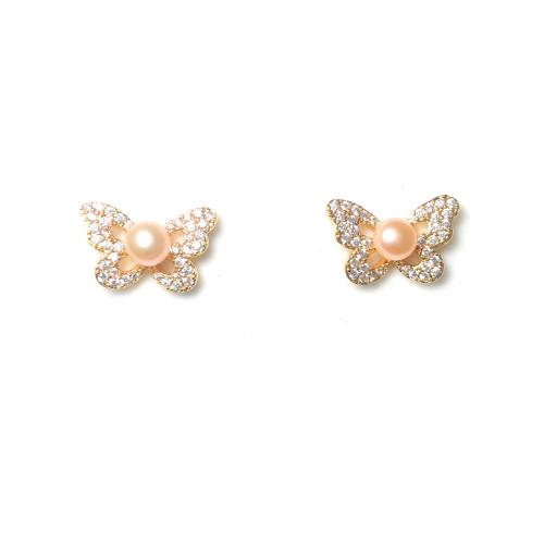 Butterfly of Pink Freshwater Pearl Microscope Zircon Stud Earrings 2006044