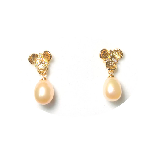 Clover of Pink Freshwater Pearl Stud Earrings 2006039