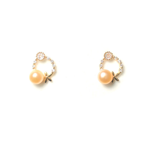Garland of Pink Freshwater Pearl Microscope Zircon Stud Earrings 2006046