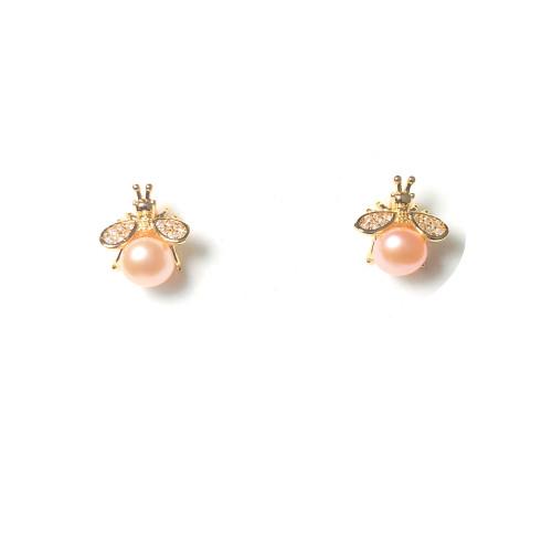 Bee of Pink Freshwater Pearl Microscope Zircon Bee Stud Earrings 2006035
