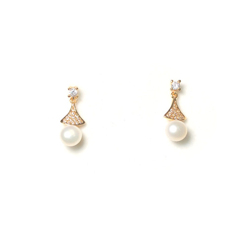 Dress of White Freshwater Pearl Microscope Zircon Stud Earrings 2006038