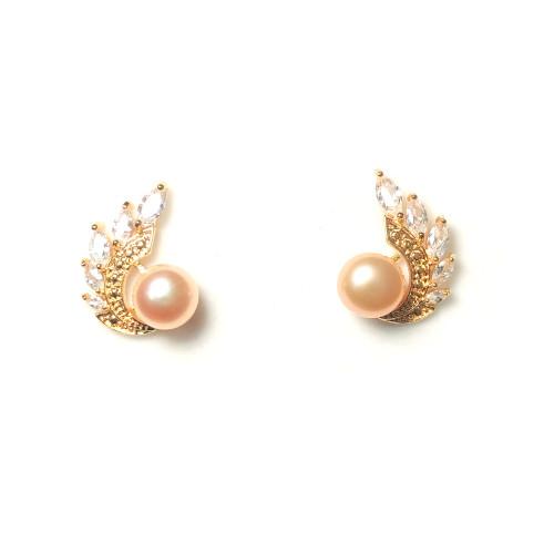 Wing of Pink Freshwater Pearl Zircon Stud Earrings 2006050