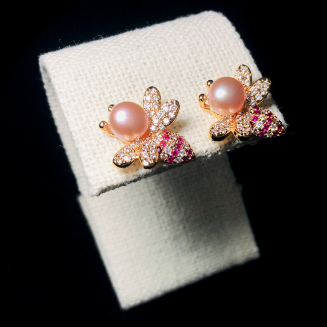 Bee of Purple Freshwater Pearl Microscope Color Zircon Stud Earrings 2006034