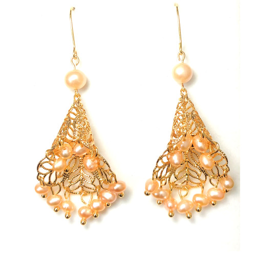 Romantic Dress of Pink Freshwater Pearl Drop Earrings 2006054