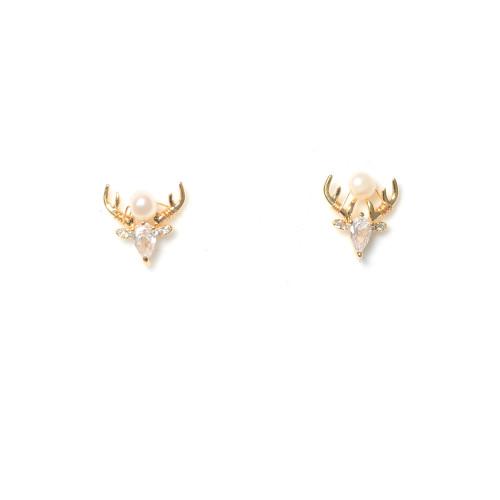 Deer of White Freshwater Pearl Zircon Stud Earrings 2006043