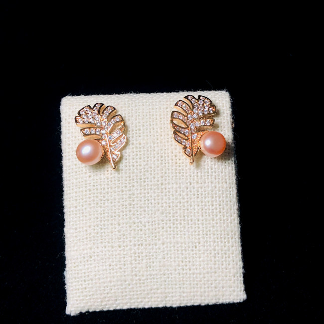 Leaf of Pink Freshwater Pearl Microscope Zircon Stud Earrings 2006036