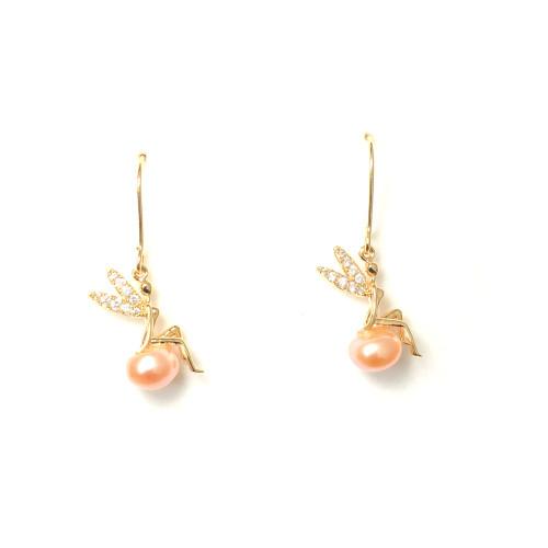 Fairy of Freshwater Pearl Microscope Zircon Drop Earrings in Pink White 2006052