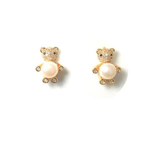 Bear of White Freshwater Pearl Microscope Zircon Stud Earrings 2006033
