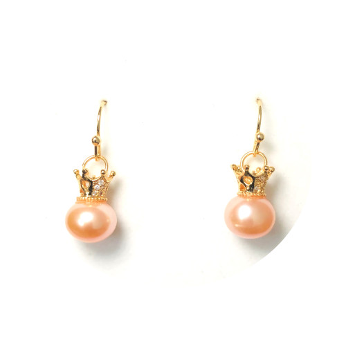 Crown of Pink Freshwater Pearl Microscope Zircon Drop Earrings 2006053