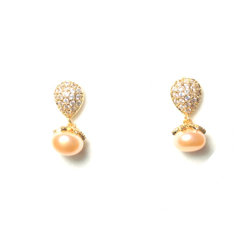 Pineapple of Pink Freshwater Pearl  Microscope Zircon Stud Earrings 2006047
