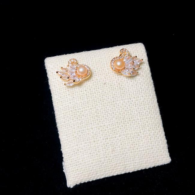 Angel of Pink Freshwater Pearl Zircon Stud Earrings 2006045