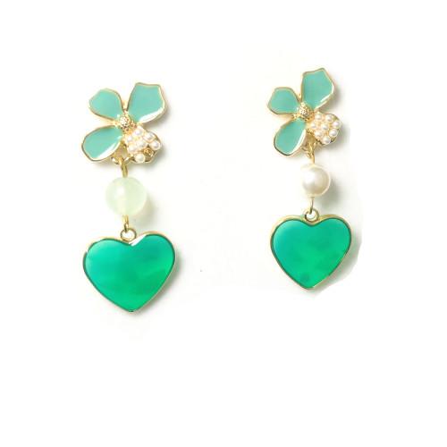 Green Flower Drop Earrings 2006096