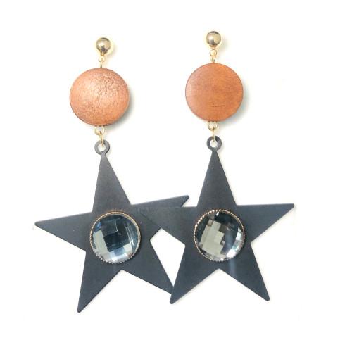 Black Star of Wood Drop Earrings 2006088