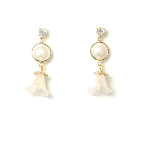 White Flower Drop Earrings 2006079