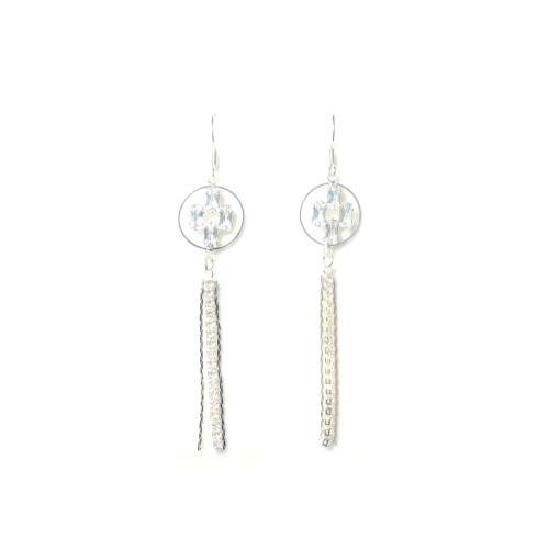 Silver Zircon Tassel Earrings 2006071