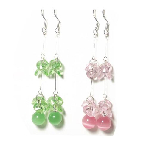 Ball of Opal Dangle Earrings in Pink Green 2006070