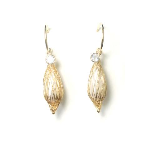 Wire Pearl Open Hoop Earrings 2006086