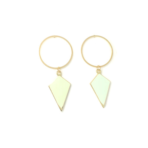 Rhombus of Green Drop Earrings 2006090