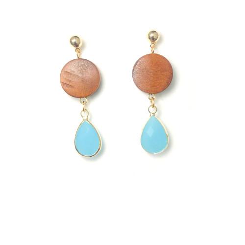 Teardrop of Wood Drop Earrings in Pink Blue 2006087