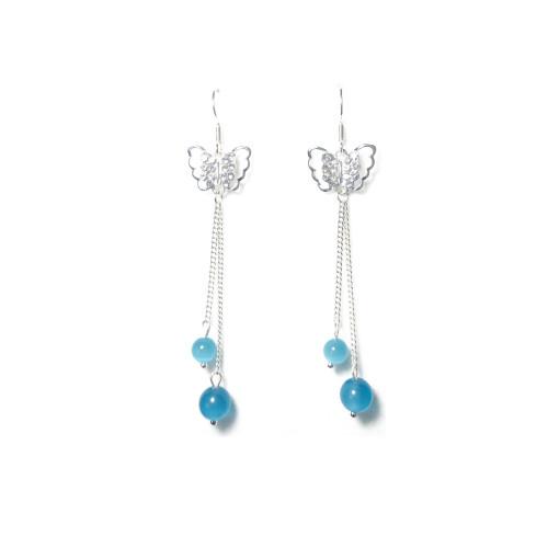 Pierced Butterfly of Blue  Opal Tassel Earrings 2006072