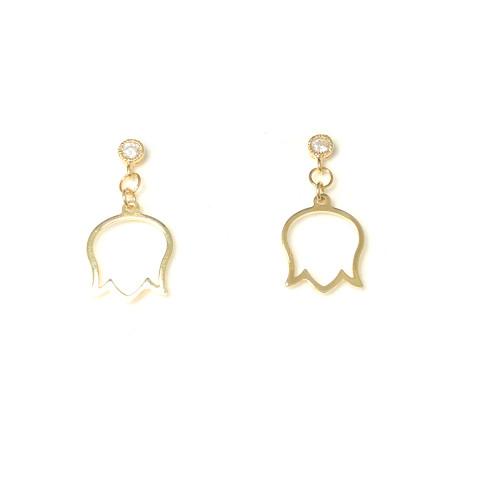 Gold Pierced Flower Drop  Earrings 2006077