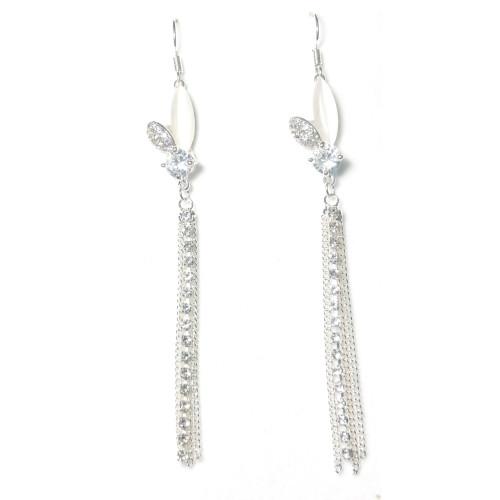Silver Flower of Zircon Tassel Earrings 2006069